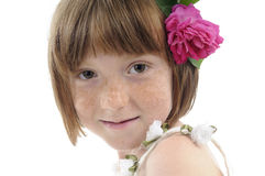 Freckled girl smiling Royalty Free Stock Images