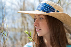 Freckled happy girl in hat looking away Royalty Free Stock Image
