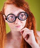 Freckled nerdy beauty Royalty Free Stock Photos