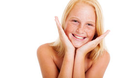 Freckled preteen girl. Cute freckled preteen girl face closeup portrait Royalty Free Stock Photos