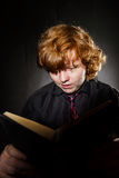 Freckled red-haired teenage boy reading book, education concept Royalty Free Stock Photos