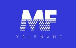 Frecuencia intermedia M F Dotted Letter Logo Design con el fondo azul Foto de archivo libre de regalías