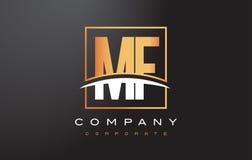 Frecuencia intermedia M F Golden Letter Logo Design con el cuadrado y Swoosh del oro Imagen de archivo libre de regalías