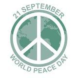 fred för international för dagduvajordklot begreppsillustration med hippietecknet vektor illustrationer