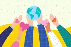 fred för international för dagduvajordklot hands hjärtaholdingsymbol stock illustrationer