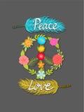 Fred och förälskelse, blommafredsymbol och färgrika fjädrar med skriftliga ord för hand Fotografering för Bildbyråer