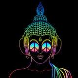 fred och förälskelse Färgrik Buddha i regnbågeexponeringsglas som lyssnar till Fotografering för Bildbyråer
