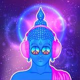 fred och förälskelse Färgrik Buddha i regnbågeexponeringsglas som lyssnar till Royaltyfri Foto