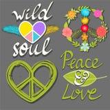 Fred och förälskelse, lösa andaord, blommafredsymbol och hjärtafredtecken Royaltyfri Foto
