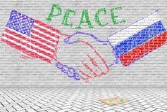 Fred och kamratskap mellan Ryssland och Förenta staterna Begreppsmässig bild som en kritateckning fotografering för bildbyråer