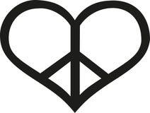 Fred undertecknar in hjärtaform vektor illustrationer
