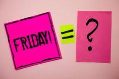 fredag för ordhandstiltext Motivational appell Affärsidéen för den sista dagen av arbetsveckastarthelgen kopplar av tididémeddela Arkivfoton