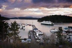 fredag hamn, San Juan Island, Washington. Arkivbilder