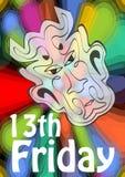 fredag 13th, 13 fredag, olycklig dag med jäkelhuvudet på psykedelisk färgrik bakgrund Av ondo jäkelsymbol och motgång Royaltyfria Bilder
