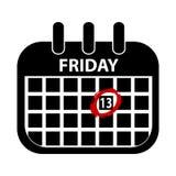 fredag 13th kalender - den svarta Vektor illustrationen - som isoleras på vit royaltyfri illustrationer
