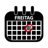 fredag 13th kalender - den svarta Vektor illustrationen - tyskt ord Freitag stock illustrationer