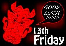 fredag 13th, kort för bra lycka med huvudet för röd jäkel Röd teckning på svart bakgrund Arkivfoto