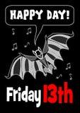 fredag 13th med slagträteckningen 13 fredag olycklig dag gulligt slagträ Slagträclipart vektor illustrationer