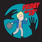 fredag 13th och affärsmannen stock illustrationer