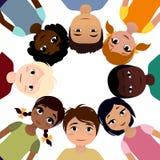 Fredbarn av olikt etnicitetkamratskap stock illustrationer