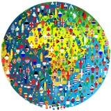 Fredbegrepp med jordjordklotet och folk som mönstras i flaggor Arkivbild