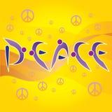 Fredbokstäver och fred- och förälskelsesymboler Arkivfoto