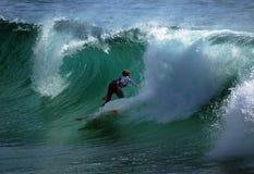 Freddie Meadows Surfs in a barrel Royalty Free Stock Image