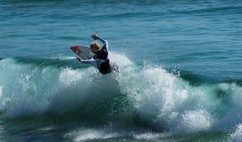 Freddie Meadows Surfs on a wave Stock Photos
