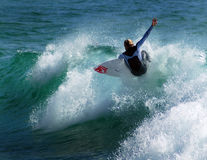 Freddie Meadows Surfs on a wave Stock Photography