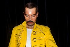 Freddie Mercury , wax statue. Freddie Mercury born Farrokh Bulsara was a British singer, songwriter and record producer, best known as the lead vocalist of the royalty free stock image