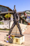 Freddie Mercury. Bronze statue erected in the honour of Freddie Mercury the lead singer of Queen, in Montreux, Switzerland where he lived and worked royalty free stock photo