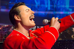 Freddie Mercury in Madame Tussauds of London. London, United Kingdom - May 25, 2016: Wax figure of Freddie Mercury in Madame Tussauds Museum royalty free stock photos