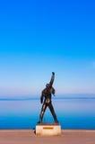 Freddie Mercury-standbeeld op waterkant van het meer van Genève in Montreux, royalty-vrije stock foto's