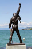 Freddie Mercury statue. MONTREUX, SWITZERLAND - JULY 14, 2012: Freddie Mercury statue on the shore of Lake Geneva stock photos
