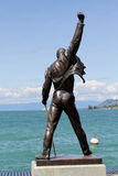 Freddie Mercury statue. MONTREUX, SWITZERLAND - JULY 14, 2012: Freddie Mercury statue on the shore of Lake Geneva royalty free stock image