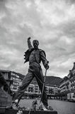 Freddie mercury statue. Statue of Freddie Mercury overlooking Lake Geneva in Montreux, Switzerland stock image