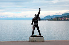 Freddie Mercury statue on waterfront of Geneva lake, Montreux, S Royalty Free Stock Photography