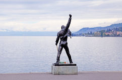 Freddie Mercury statue on waterfront of Geneva lake, Montreux, S. MONTREUX, SWITZERLAND - MAY 09, 2013: Freddie Mercury statue on waterfront of Geneva lake in royalty free stock images