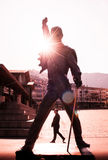 Freddie Mercury statue on waterfront of Geneva lake in Montreux,. MONTREUX, SWITZERLAND - MAY 08, 2016 : Freddie Mercury statue on waterfront of Geneva lake in royalty free stock image