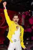 Freddie Mercury wax statue, Madame Tussaud`s Museum Vienna. Freddie Mercury was a British singer-songwriter, record producer and lead vocalist of the rock band royalty free stock photo