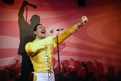 Freddie Mercury wax statue. Waxwork statue of Freddie Mercury in the Madame Tussauds Museum from Amsterdam, Netherlands royalty free stock photos