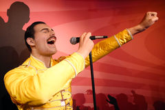 Freddie Mercury wax statue. Waxwork statue of Freddie Mercury in the Madame Tussauds Museum from Amsterdam, Netherlands stock photos