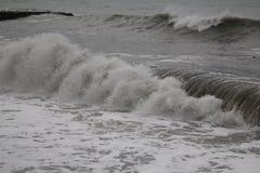 Freddo del maltempo del mare di inverno di Mar Nero della tempesta Fotografia Stock Libera da Diritti