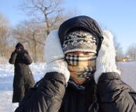 Freddo di congelamento della donna Fotografie Stock Libere da Diritti