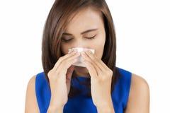 Freddo di influenza o sintomo di allergia Fotografia Stock