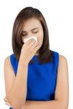 Freddo di influenza o sintomo di allergia Immagini Stock