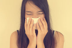 Freddo di influenza o sintomo di allergia Fotografia Stock Libera da Diritti