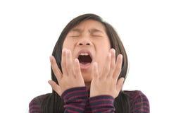 Freddo di influenza o sintomo di allergia Giovane ragazza asiatica malata Fotografia Stock Libera da Diritti