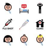 Freddo, influenza, icone malate di vettore della gente messe Immagine Stock