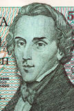 Frederic Chopin portrait from old five thousand zloty royalty free stock images